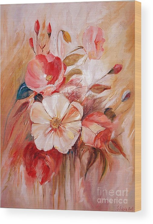 Abstract Wood Print featuring the painting Flowers I by Silvana Abel