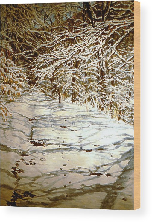 Snow Scene Wood Print featuring the painting Following Max by Thomas Akers