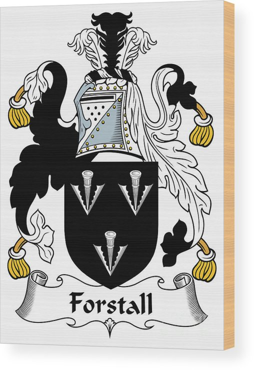 Forstall Wood Print featuring the digital art Forstall Coat Of Arms Irish by Heraldry