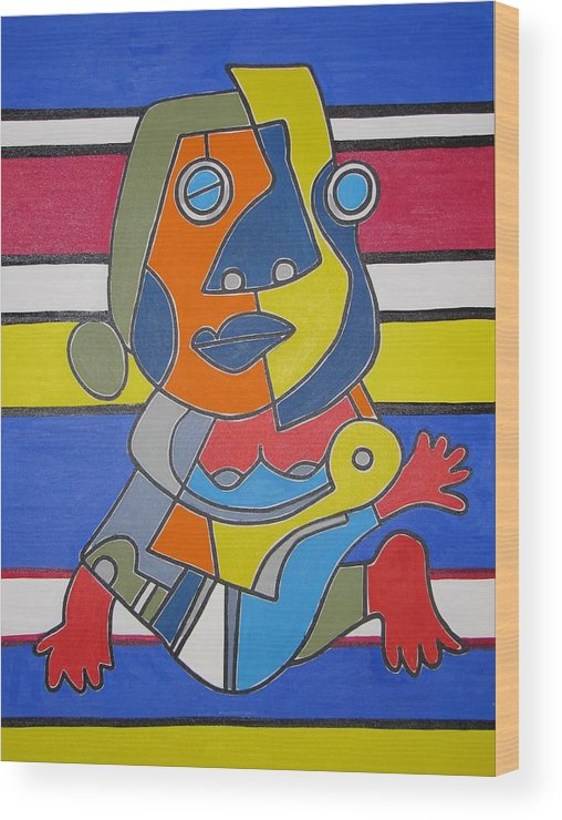 Modern Art Wood Print featuring the painting Gipsy Woman by Daniel Burtea