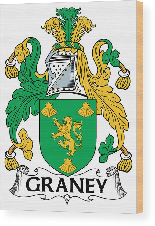 Graney Wood Print featuring the digital art Graney Coat Of Arms Irish by Heraldry