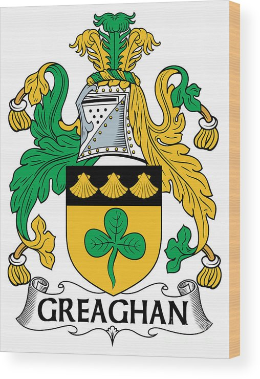Greaghan Wood Print featuring the digital art Greaghan Coat Of Arms Irish by Heraldry
