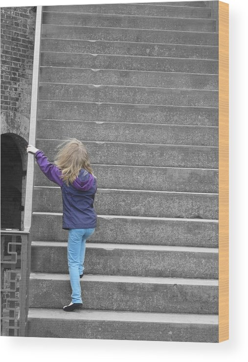 Girl Wood Print featuring the photograph Great Steps by Eric Baierl