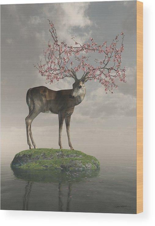 Deer Wood Print featuring the digital art Guardian Of Spring by Cynthia Decker