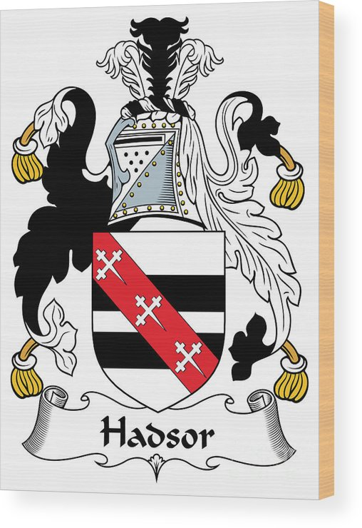 Hadsor Wood Print featuring the digital art Hadsor Coat Of Arms Irish by Heraldry