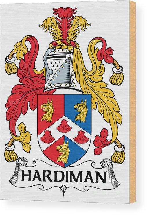 Hardiman Wood Print featuring the digital art Hardiman Coat Of Arms Irish by Heraldry