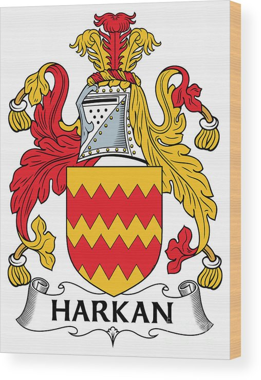 Harkan Wood Print featuring the digital art Harkan Coat Of Arms Irish by Heraldry