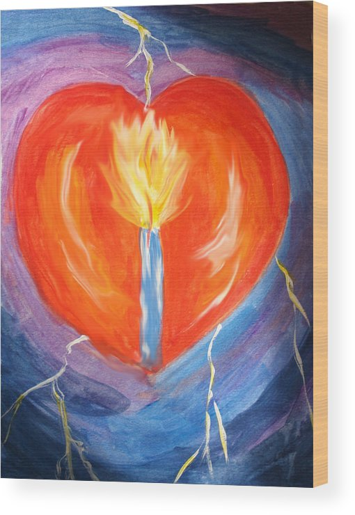 Heart Wood Print featuring the photograph Heart On Fire by Denise Warsalla