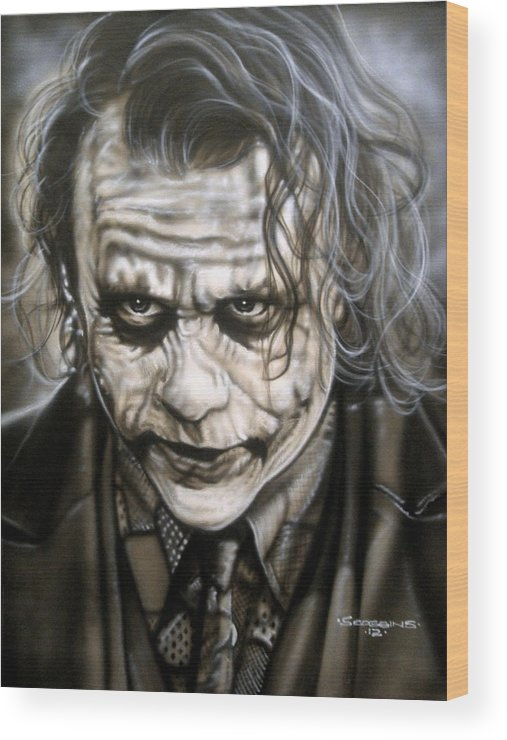 Celebrities Wood Print featuring the painting Heath Joker by Timothy Scoggins
