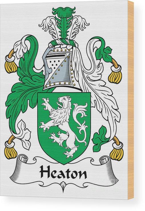 Heaton Wood Print featuring the digital art Heaton Coat Of Arms Irish by Heraldry