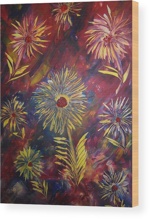 Nico Wood Print featuring the painting Hippy Flowers by Nico Bielow