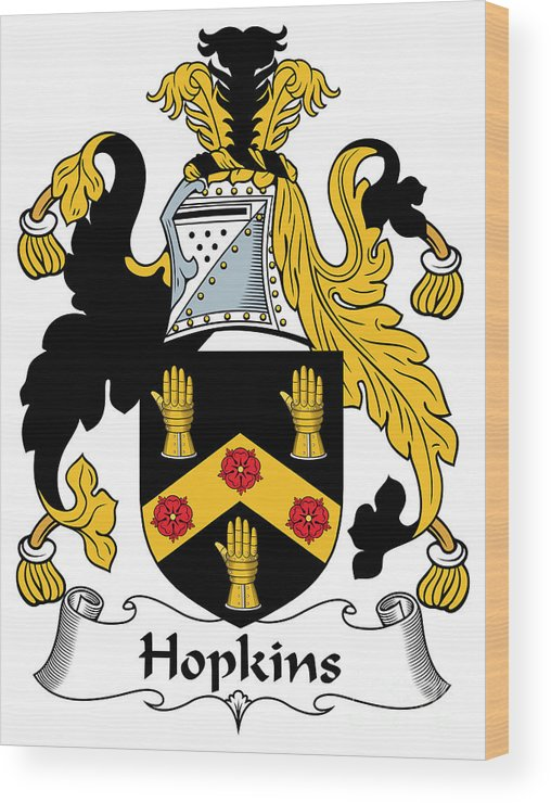 Hopkins Wood Print featuring the digital art Hopkins Coat Of Arms Irish by Heraldry