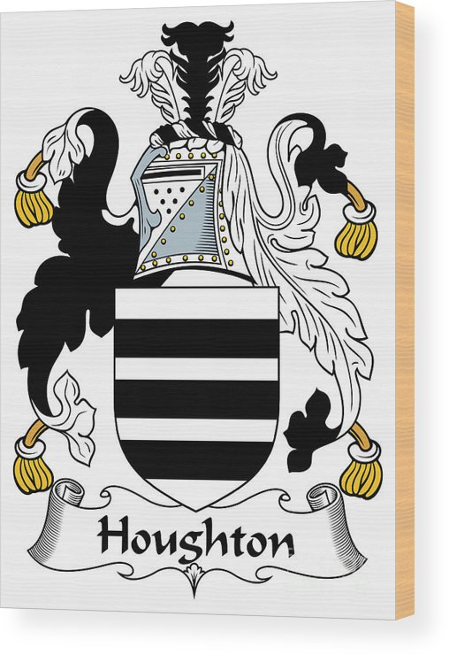 Houghton Wood Print featuring the digital art Houghton Coat Of Arms Irish by Heraldry