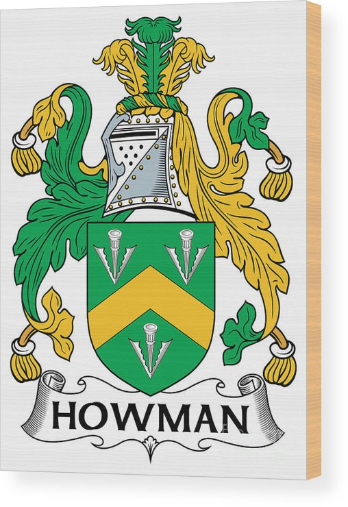Howman Wood Print featuring the digital art Howman Coat Of Arms Irish by Heraldry