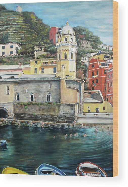 Cinque Terre Wood Print featuring the painting Italian Riviera - Cinque Terre Colors by Jennifer Lycke