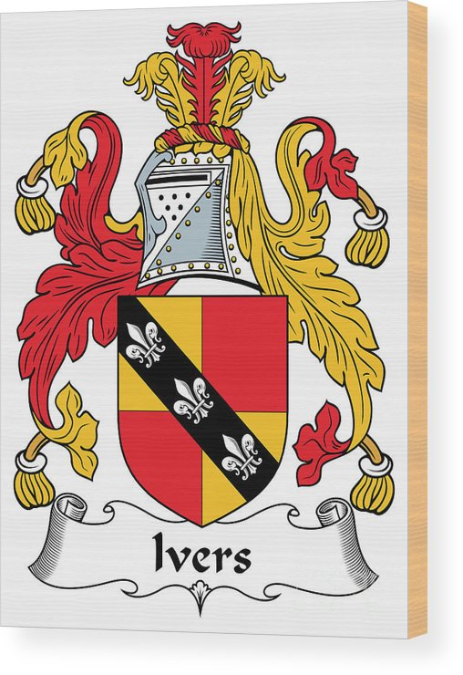 Ivers Wood Print featuring the digital art Ivers Coat Of Arms II Irish by Heraldry