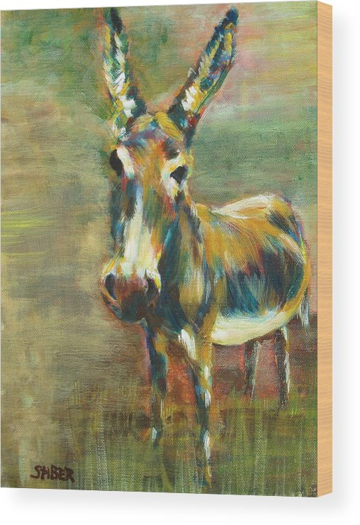 Donkey Wood Print featuring the painting Jack Asked by Kathy Stiber