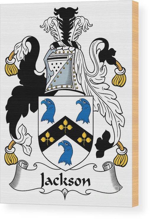 Jackson Wood Print featuring the digital art Jackson Coat Of Arms Mayo Ireland by Heraldry