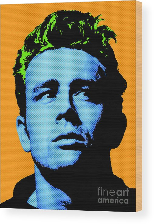 James Dean Wood Print featuring the digital art James Dean 004 by Bobbi Freelance