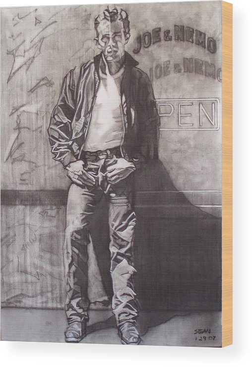 Charcoal; Icon;americana;cool;window;sidewalk;street;rock And Roll;jeans;t-shirt;diner;movie Star Wood Print featuring the drawing James Dean by Sean Connolly