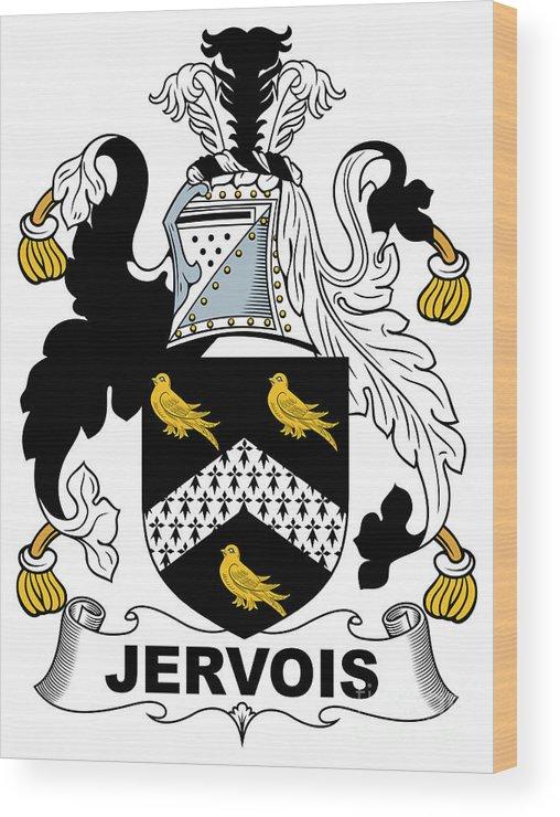 Jervois Wood Print featuring the digital art Jervois Coat Of Arms II Irish by Heraldry