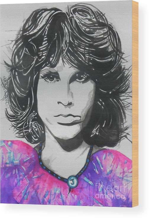 Watercolors Wood Print featuring the painting Jim Morrison by Chrisann Ellis