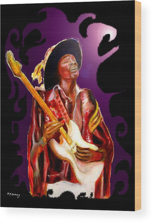 Rock Wood Print featuring the painting Jimi Hendrix Variations In Purple And Black by Tom Conway
