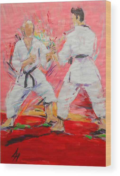 Jiyu Kumite Wood Print featuring the painting Jiyu Kumite by Lucia Hoogervorst