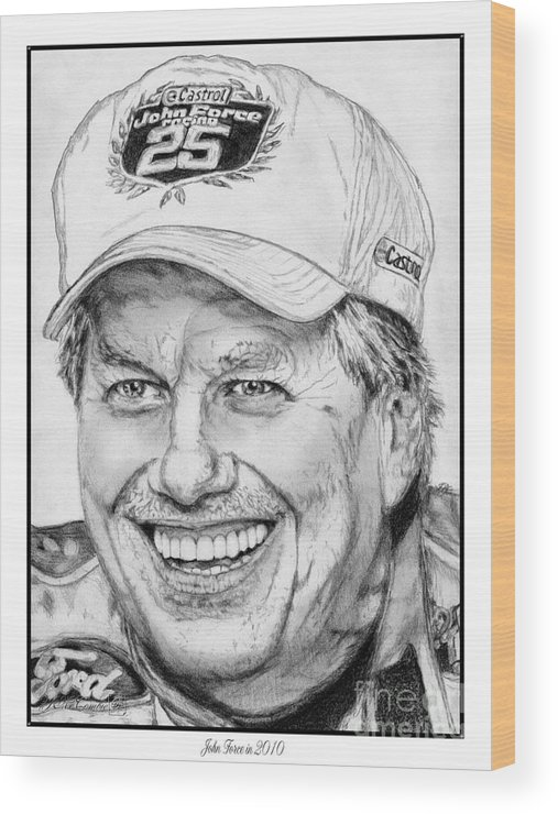 Mccombie Wood Print featuring the drawing John Force In 2010 by J McCombie