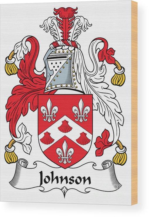 Johnson Wood Print featuring the digital art Johnson Coat Of Arms Irish by Heraldry