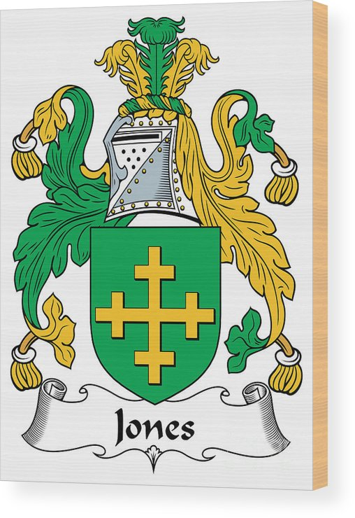 Jones Wood Print featuring the digital art Jones Coat Of Arms Kildare Ireland by Heraldry