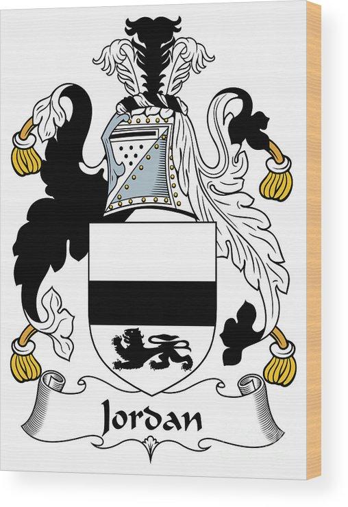 Jordan Wood Print featuring the digital art Jordan Coat Of Arms Irish by Heraldry