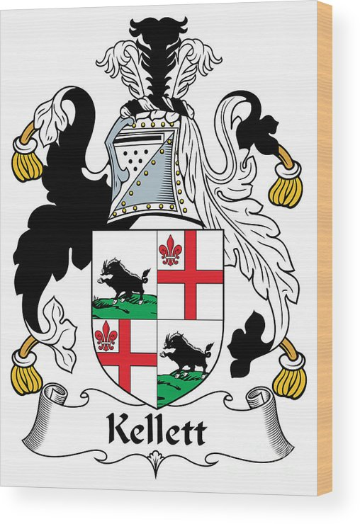 Kellett Wood Print featuring the digital art Kellett Coat Of Arms Irish by Heraldry