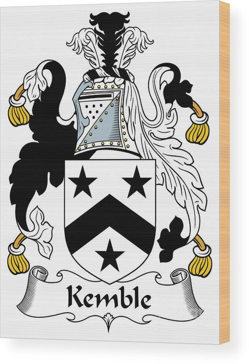 Kemble Wood Print featuring the digital art Kemble Coat Of Arms Irish by Heraldry