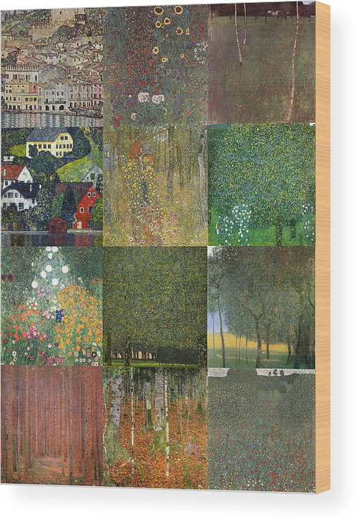 Klimt Wood Print featuring the painting Klimt Landscapes Collage by Philip Ralley