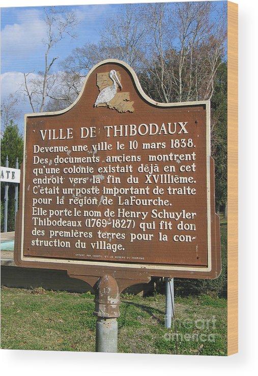 Ville De Thibodaux Wood Print featuring the photograph La-036 Ville De Thibodaux by Jason O Watson