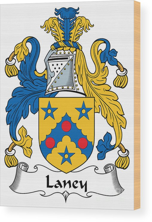 Laney Wood Print featuring the digital art Laney Coat Of Arms Irish by Heraldry