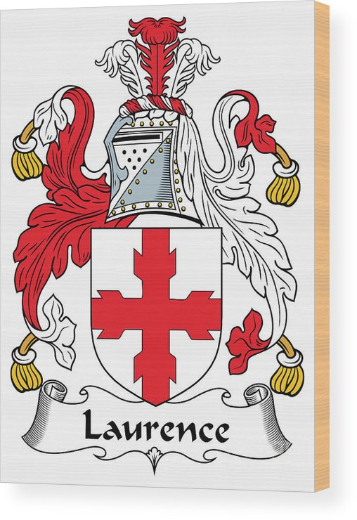 Laurence Wood Print featuring the digital art Laurence Coat Of Arms Irish by Heraldry