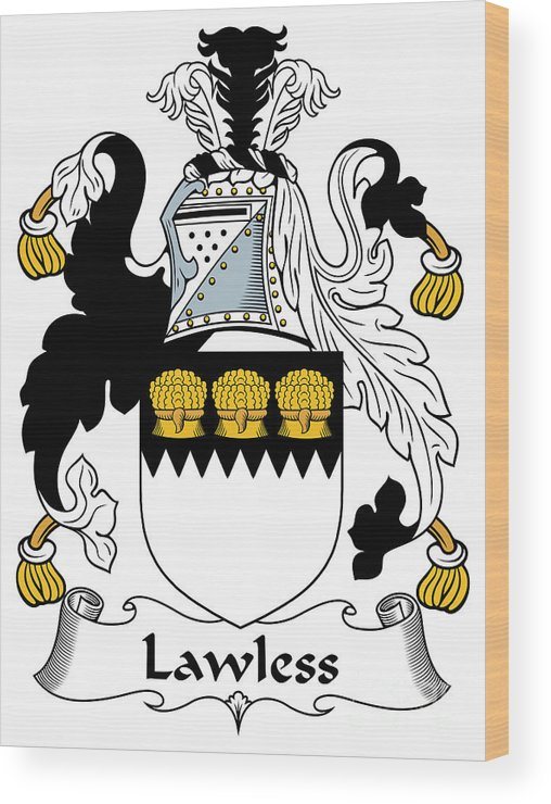 Lawless Wood Print featuring the digital art Lawless Coat Of Arms Irish by Heraldry