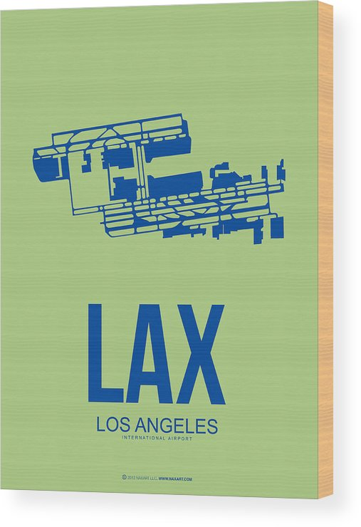 Los Angeles Wood Print featuring the digital art Lax Airport Poster 1 by Naxart Studio