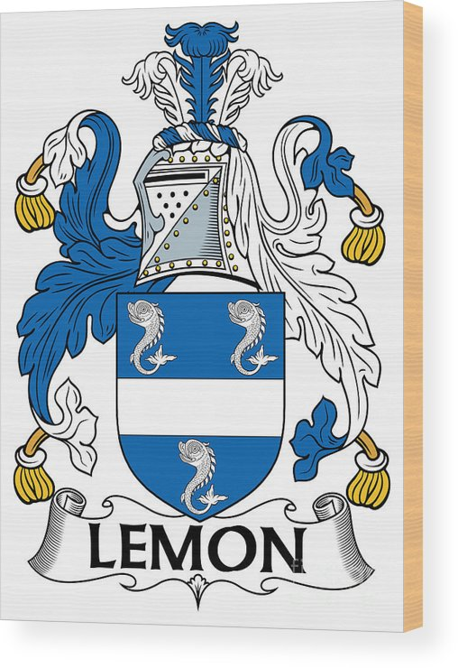 Lemon Wood Print featuring the digital art Lemon Coat Of Arms Irish by Heraldry