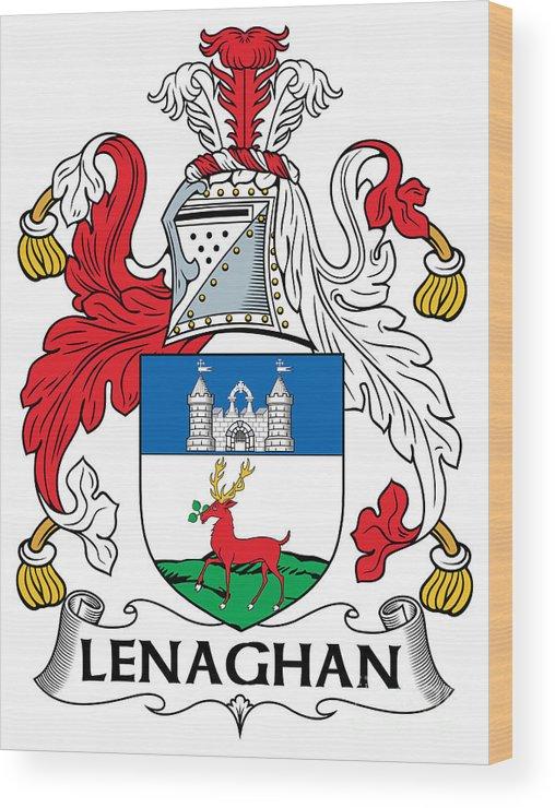 Lenaghan Wood Print featuring the digital art Lenaghan Coat Of Arms Irish by Heraldry