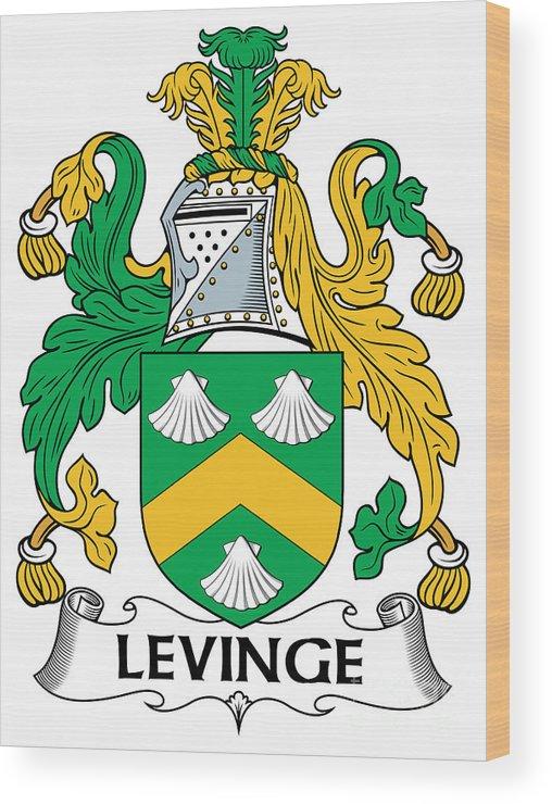 Levinge Wood Print featuring the digital art Levinge Coat Of Arms Irish by Heraldry