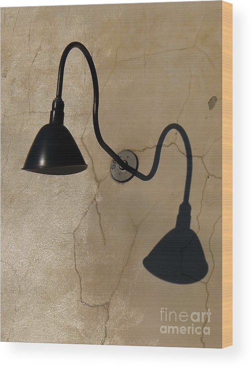 Light Wood Print featuring the photograph Light And Shadow On Cracked Wall by Christine Stack