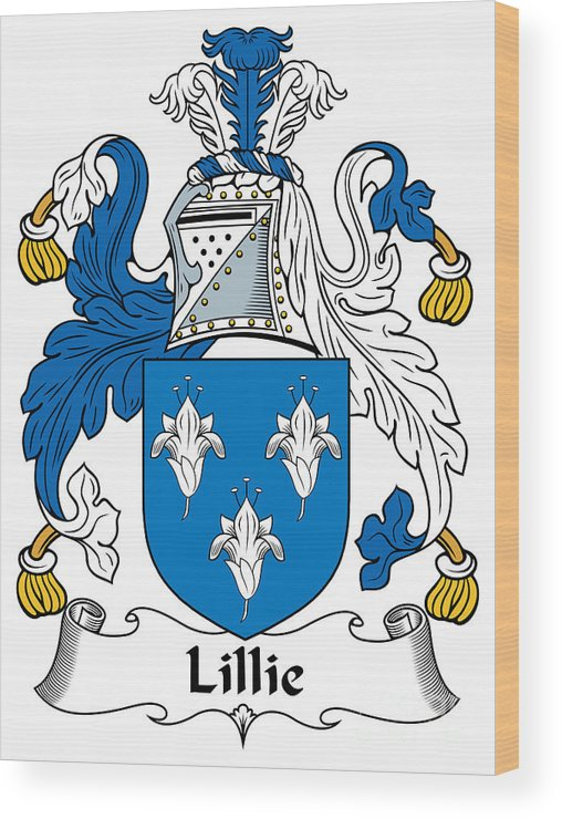 Lillie Wood Print featuring the digital art Lillie Coat Of Arms Irish by Heraldry