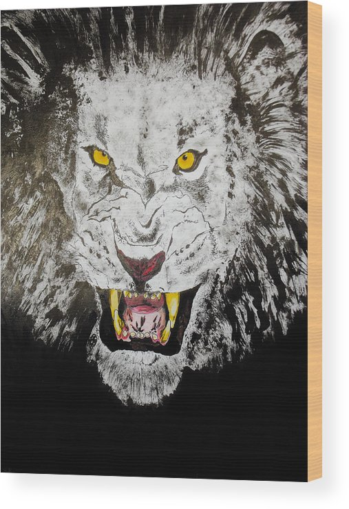 King Of The Jungle Wood Print featuring the drawing Lion In The Darkness by Zech Browning