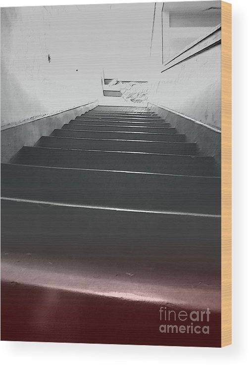 Steps Wood Print featuring the photograph Long Way Up by Melissa Lightner