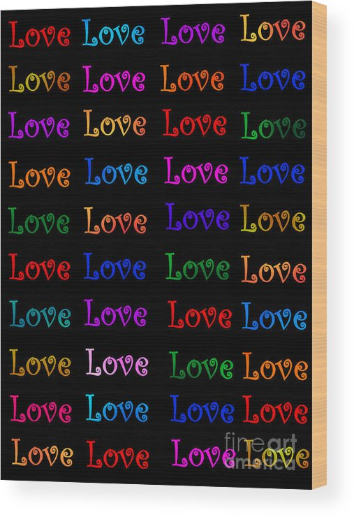 Symbol Of Love Wood Print featuring the painting Love by Nikunj Vasoya