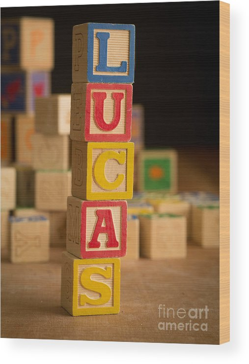 Alphabet Wood Print featuring the photograph Lucas - Alphabet Blocks by Edward Fielding