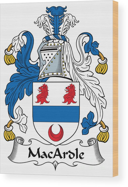 Macardle Wood Print featuring the digital art Macardle Coat Of Arms Irish by Heraldry